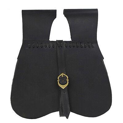 Handmade Medieval Renaissance Simple Black Leather Soldier Belt Pouch