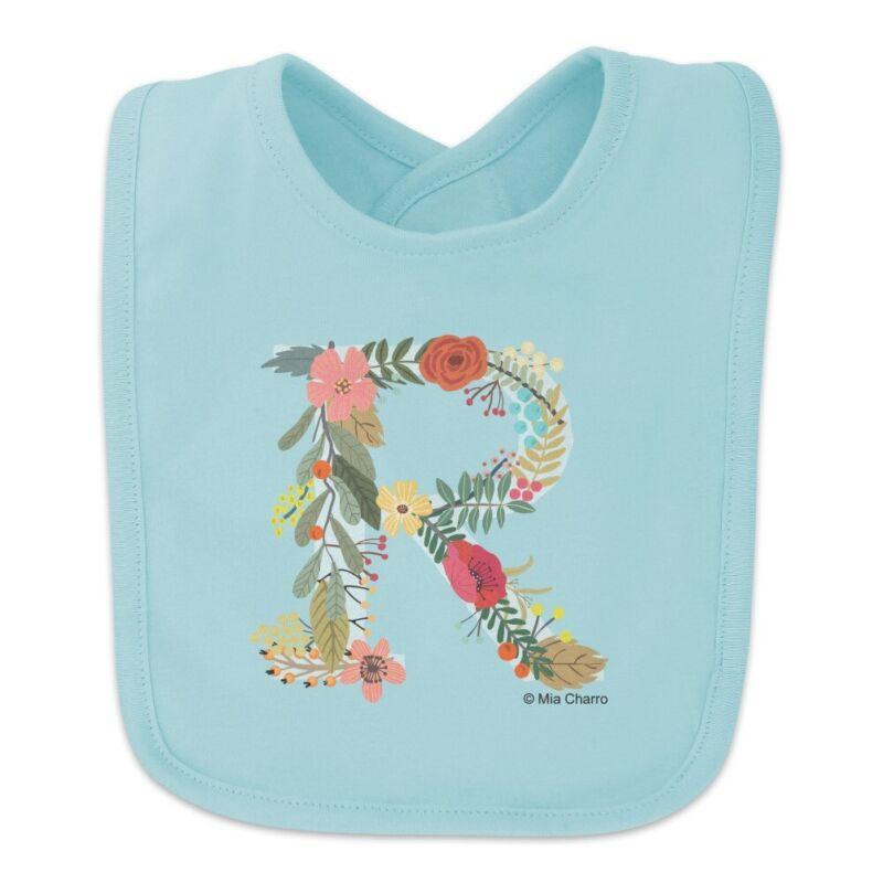 Letter R Floral Monogram Initial Baby Bib