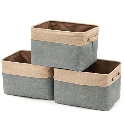 (Collapsible Storage Bin Basket [3-Pack]- Brown / Gray)