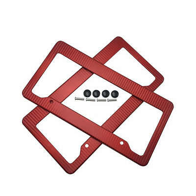2 x JDM Red Carbon Fiber Look License Plate Frame Cover Front & Rear Universal 2 (Carbon Fiber Standard Cover)
