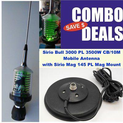 Sirio Bull Trucker 3000 LED 3500W CB/10M Antenna and Strong Mag Mount Kit ()