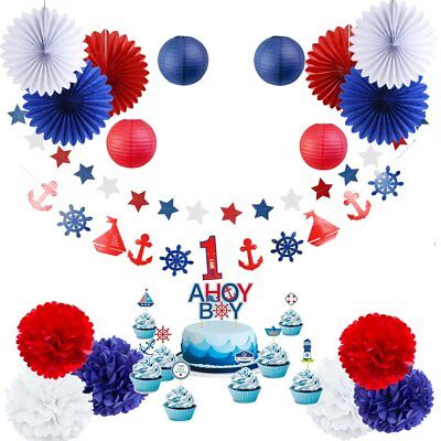1st Birthday Boy Party Supplies (Nautical Party Baby Shower Decoration Kit AHOY BOY 1st Birthday Party)