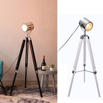 LED Nautical Hollywood Design Floor Lamp Tall Standing Up/Down Light Tripod Base