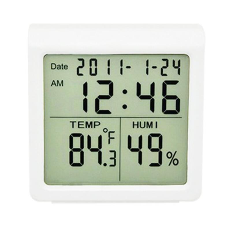 Electronic Thermometer And Hygrometer With Time Clock Digita