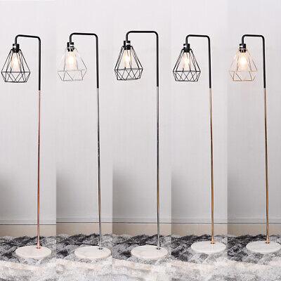 Vintage Industrial Electric Geometric Floor Lamp Metal Lampshade And Marble Base
