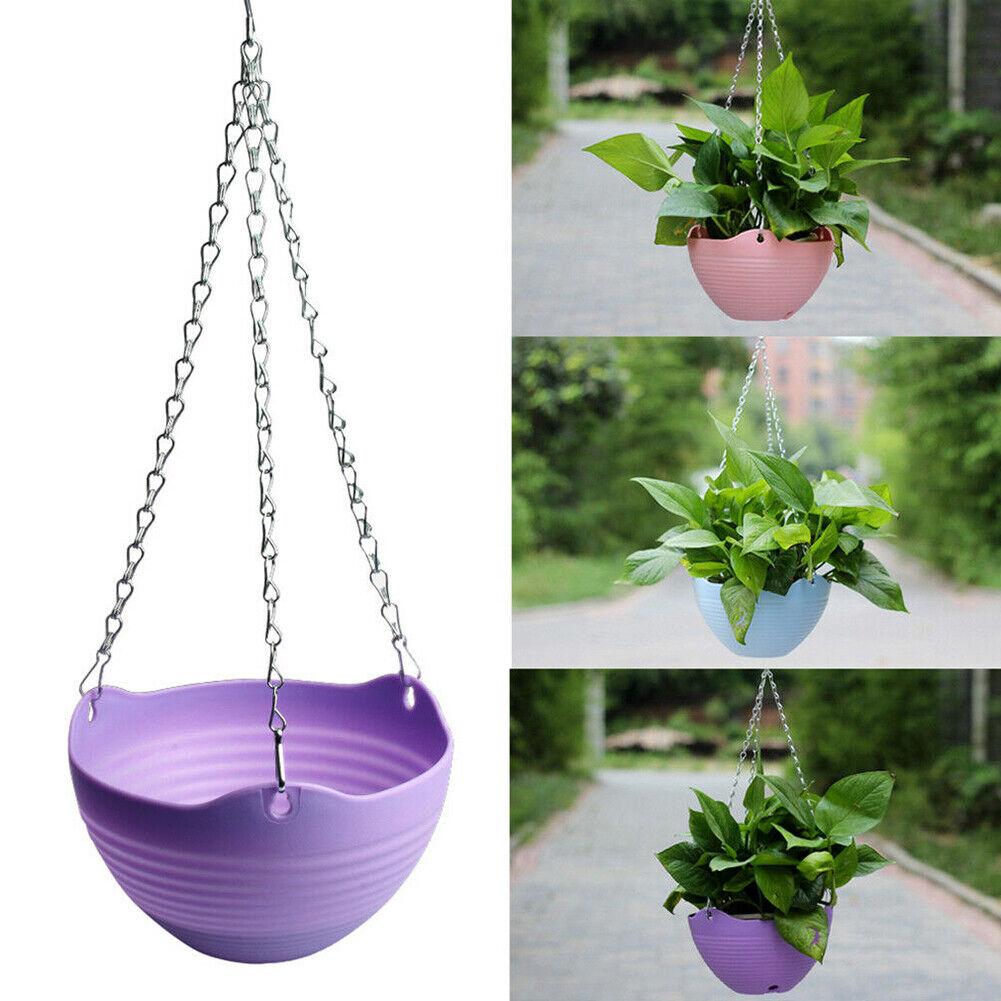 1X Hanging Chain Flower Plant Pot Basket Planter Container Garden Balcony Decor
