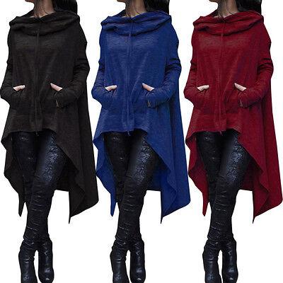 Women Winter Hoodie Dress Long Hooded Tops Casual Sweatshirt Sweater Asymmetric