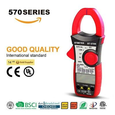 Digital Multimeter Clamp Meter Autorange 6000c Lcd Display Acdc Volt Ohm