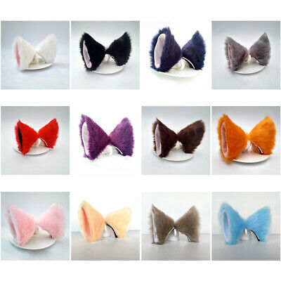 Cute Fox Cat Ears Long Headband Fur Animal Cosplay Hair Clip Party Costume