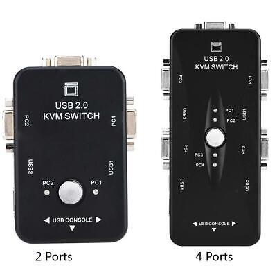 2/4 Ports USB 2.0 HDMI VGA KVM Switch Switcher For 2 Monitor