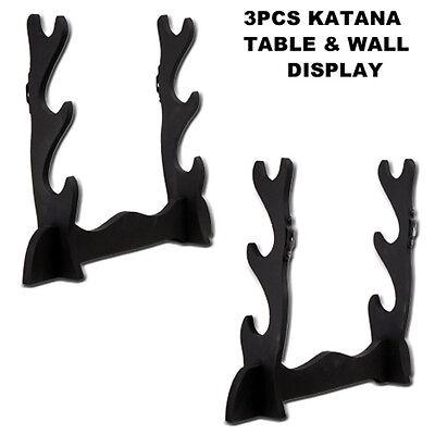 Wooden Samurai Sword Three Tier Katana Table Top or Wall Display Stand