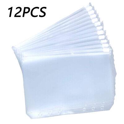 12pcs Binder Pockets A5 A6 A7 Binder Zipper Folders 6-ring Loose Leaf Filing Bag