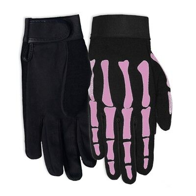 Ladies Pink Skeleton Bones - Extra Small Mechanic's Gloves - Pink Skeleton Gloves