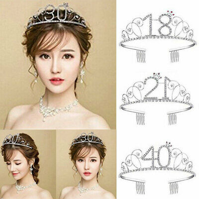 40th Birthday Tiara Crown (Women Anniversary Birthday Bride 18-40th Silver Rhinestone Tiara Crown)