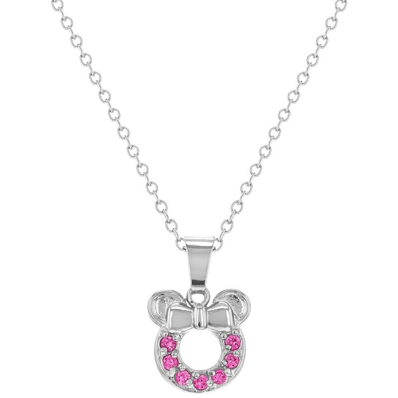 Rhodium Plated Hot Pink CZ Tiny Mouse Girls Children Pendant Necklace 16""