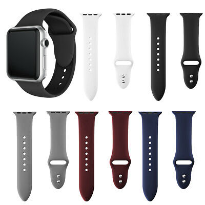 Silicone Dual Rivet Buckles Wristbands Watch Band Strap for Apple Watch