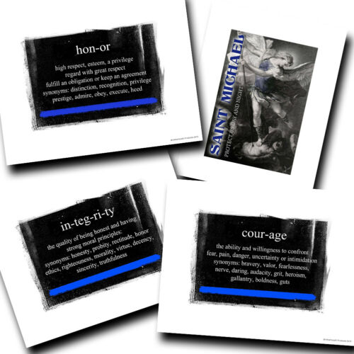 Vintage Law Enforcement St Michael, Honor, Courage, Integrity Blue Line Prints