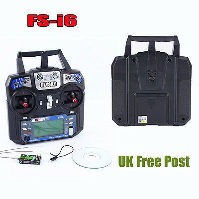FlySky FS-i6 2.4G 6CH AFHDS RC Transmitter + FREE Receiver For RC Quadcopter Hot