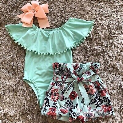 US Newborn Kid Baby Girl Clothes Ruffle Romper Floral Shorts Summer Outfits Set - Ruffle Girl Clothing