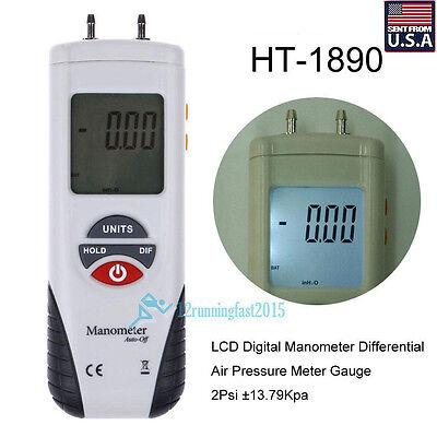 Lcd Digital Manometer Differential Air Pressure Meter Gauge 2psi 13.79kpa Case