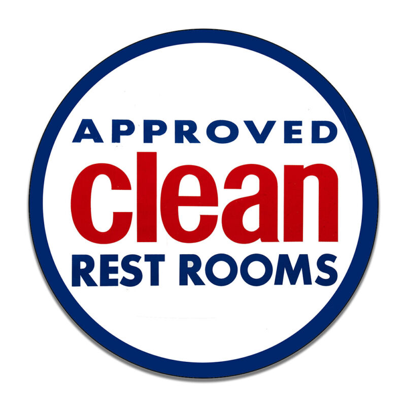 Approved Clean Rest Rooms Reproduction Car Company Round MDF Wood Sign