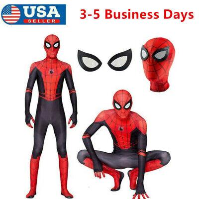 Boys Spider Costume (SpiderMan Far From Home Kids Boys Spider-man Zentai Child Cosplay Costume)