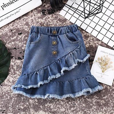 Short Kids Skirt (US Seller Toddler Kids Girls Blue Denim Mini Skirt Short Dress Jean Skirt)