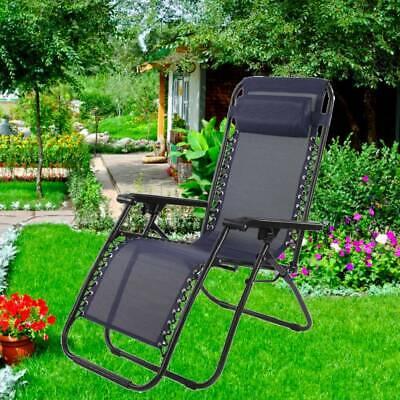 Adjustable Folding Recliner Outdoor Chair Sun Lounger Seat Garden Patio Headrest