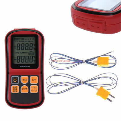 Lcd Digital Thermocouple Thermometer Temperature Dual-channel Meter Tester Us