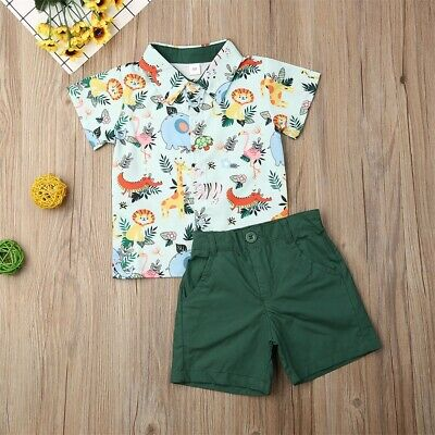 US Hot Clothes Set Baby Boy Short Sleeve T-shirt+Pant 2pcs Casual Outfits Summer Hot Childrens Clothing