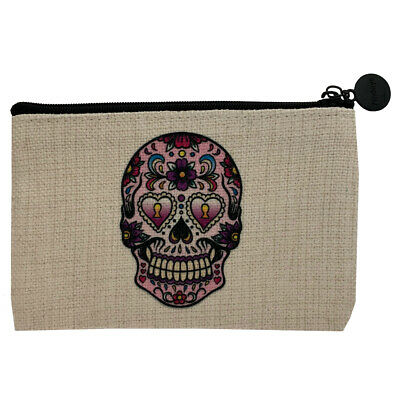 Sugarskull Make Up (Heart Eyes Sugar Skull Small Linen Zippered Bag Coin Purse Cosmetic)