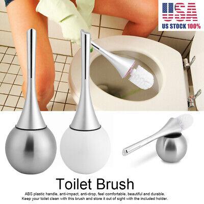 Modern Bathroom Toilet Brush & Holder Set Stainless Steel Bowl Base -