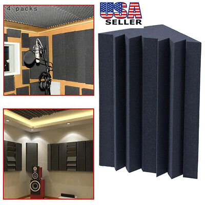 4 Pack 12x12x25cm Acoustic Foam Bass Trap Studio Soundproofing Corner Wall USA