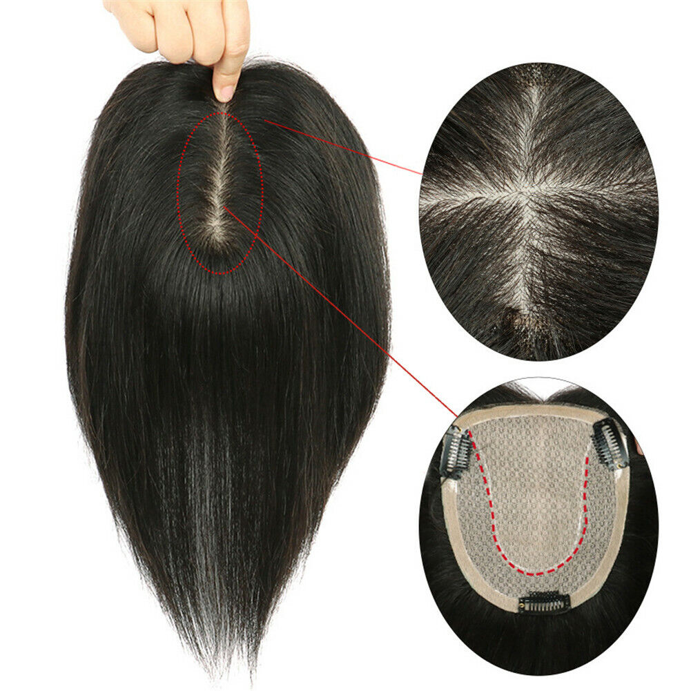 Silk Base Women's 100% Real Human Hair Topper Toupee Clip Hairpiece Top Wig