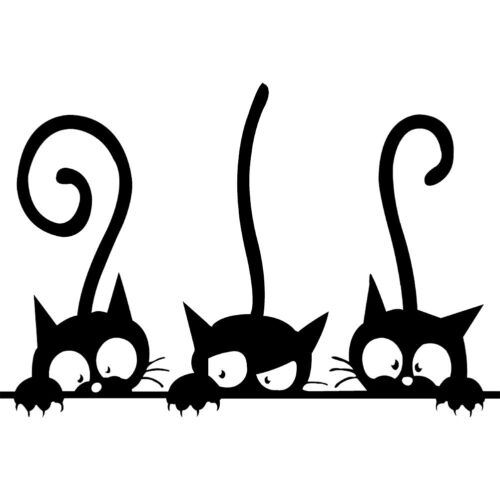 Sticker Three Kittens Cute Cats Vinyl Wall Sticker Mural Fri