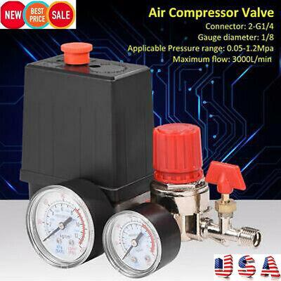 90-120psi Air Compressor Pressure Switch Manifold Gauges Regulator Control Valve