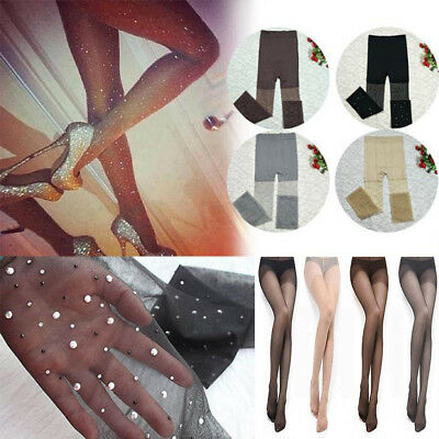 Sexy Fashion Womens Bling Rhinestone Glitter Fishnet Tight Pantyhose Stockings - Glitter Pantyhose