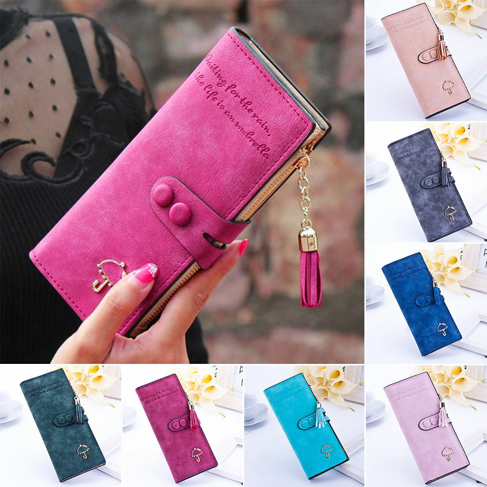 Women Leather Wallet Bifold Clutch Large Capacity Card Organizer Buckle Purse US Clothing, Shoes & Accessories