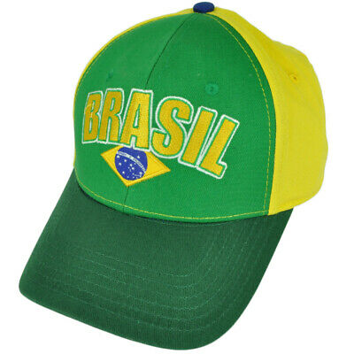 Brasil Brazil Flag Country Green Yellow  Hat Cap Brazilian Adjustable 2Ton Brazil Country Flag