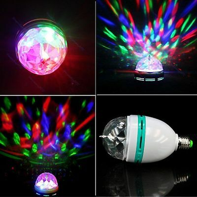 3W E27 RGB Crystal Ball Rotating LED Stage Light Bulb for Club DJ Disco Party