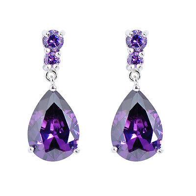 Teardrop Shaped Purple Amethyst Gems Drop/Dangle Earrings 10KT White Gold -