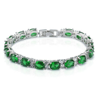 White Gold Finish Created Green Emerald Tennis Bracelet Silver Tone cz Diopside
