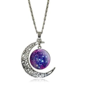 Sterling Silver Necklace Jewellry Moon Glass Galaxy Style IB841