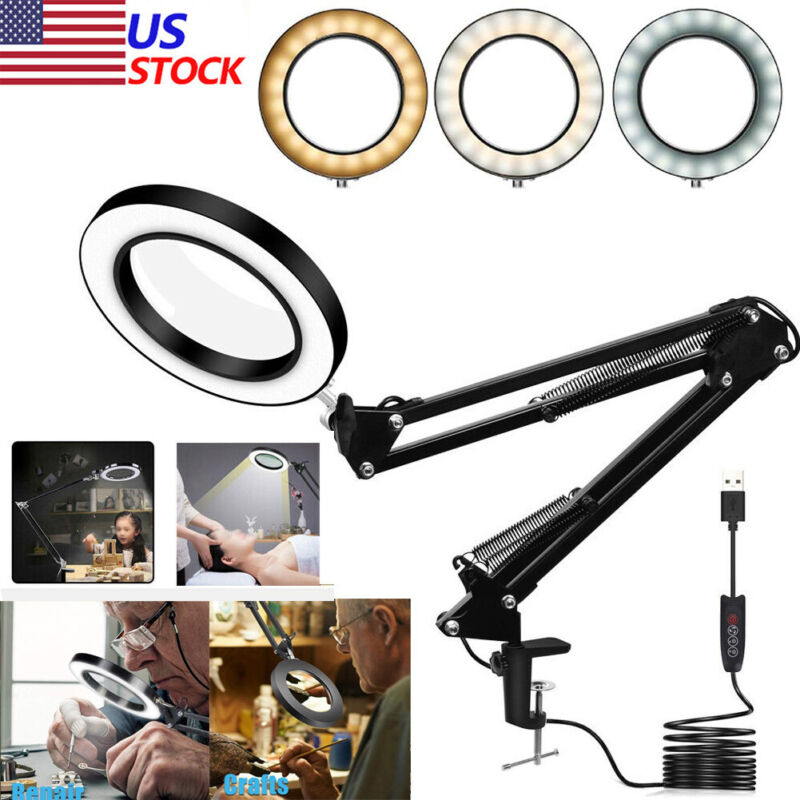 Magnifier LED Lamp 5X Magnifying Glass Desk Table Light Reading Lamp With Clamp