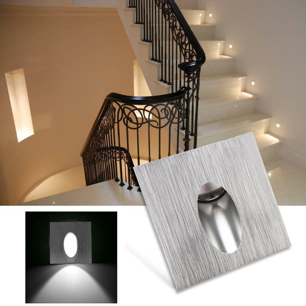 Details About 3w Led Recessed Stair Light Aluminum Stairway Step Wall Corner Lamp Waterproof