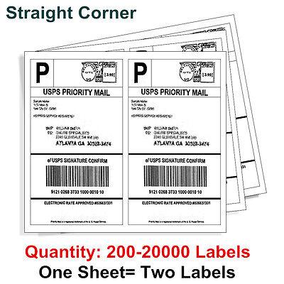 200 20000 Half Sheet 8 5X5 5 Shipping Label 2 Per Sheet Self Adhesive   Ups Usps