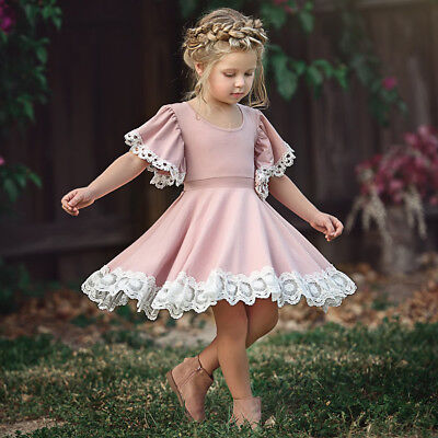 AU Princess Kids Baby Girl Dress Lace Floral Party Dress Christmas Solid - Christmas Kids Dress