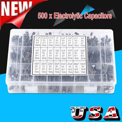 500pcs Electrolytic Capacitor Assortment Kit 0.1uf-1000uf 10v-50v 24 Value Wbox