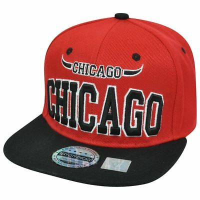 Chicago Illinois Chi Town Windy City USA Bull Horns Red Black Snapback Hat Cap  (Usa Windy City)