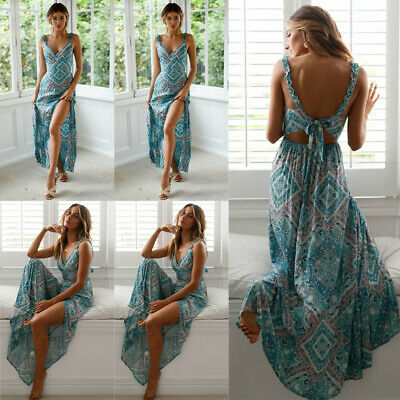 Cocktail Party Dress - Hot Women Summer Boho Long Maxi Dress Evening Party Cocktail Beach Sundress